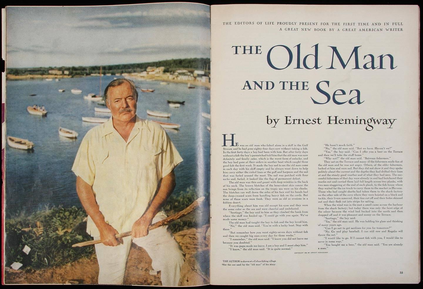 American novelist, Ernest Hemingway is shown left. To the right, the opening page of his Pulitzer Prize-winning novel, The Old Man and the Sea, which was inspired by Bimini, Bahamas