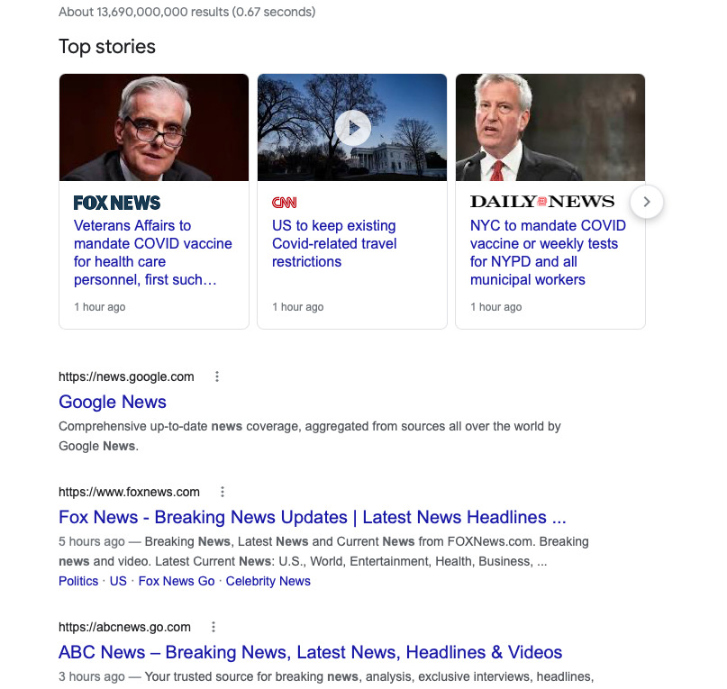 """Screenshot of a Google search for the word, """"news."""""""