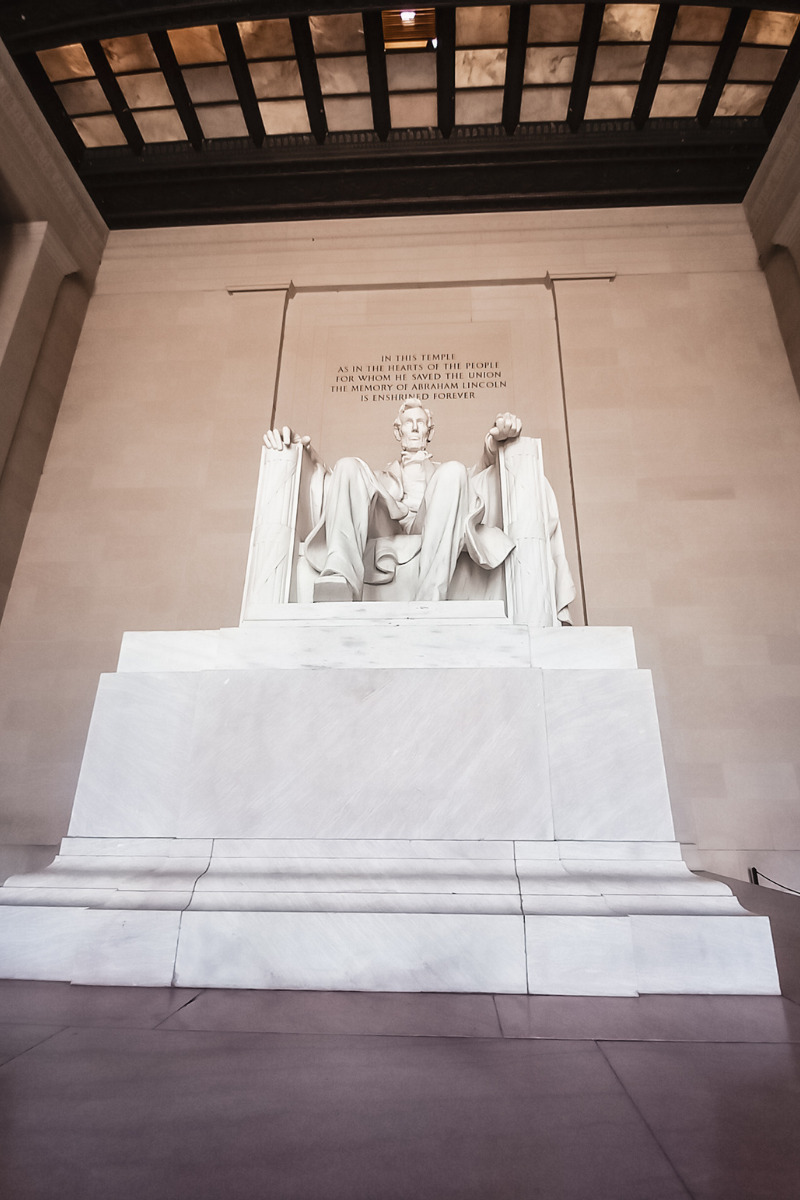 Statue of President Abraham Lincoln in the Lincoln Memorial in Washington, DC.