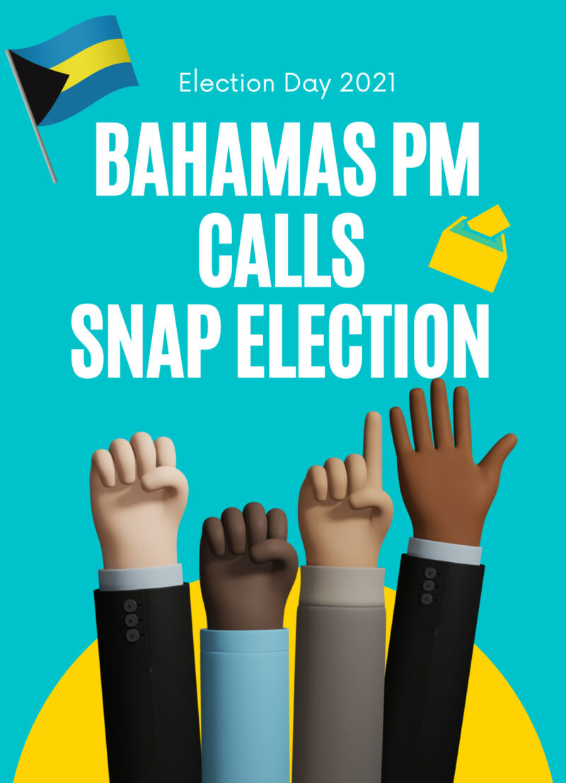 Illustration of four hands being raised and the words, Bahamas PM Calls Snap Election are in the background