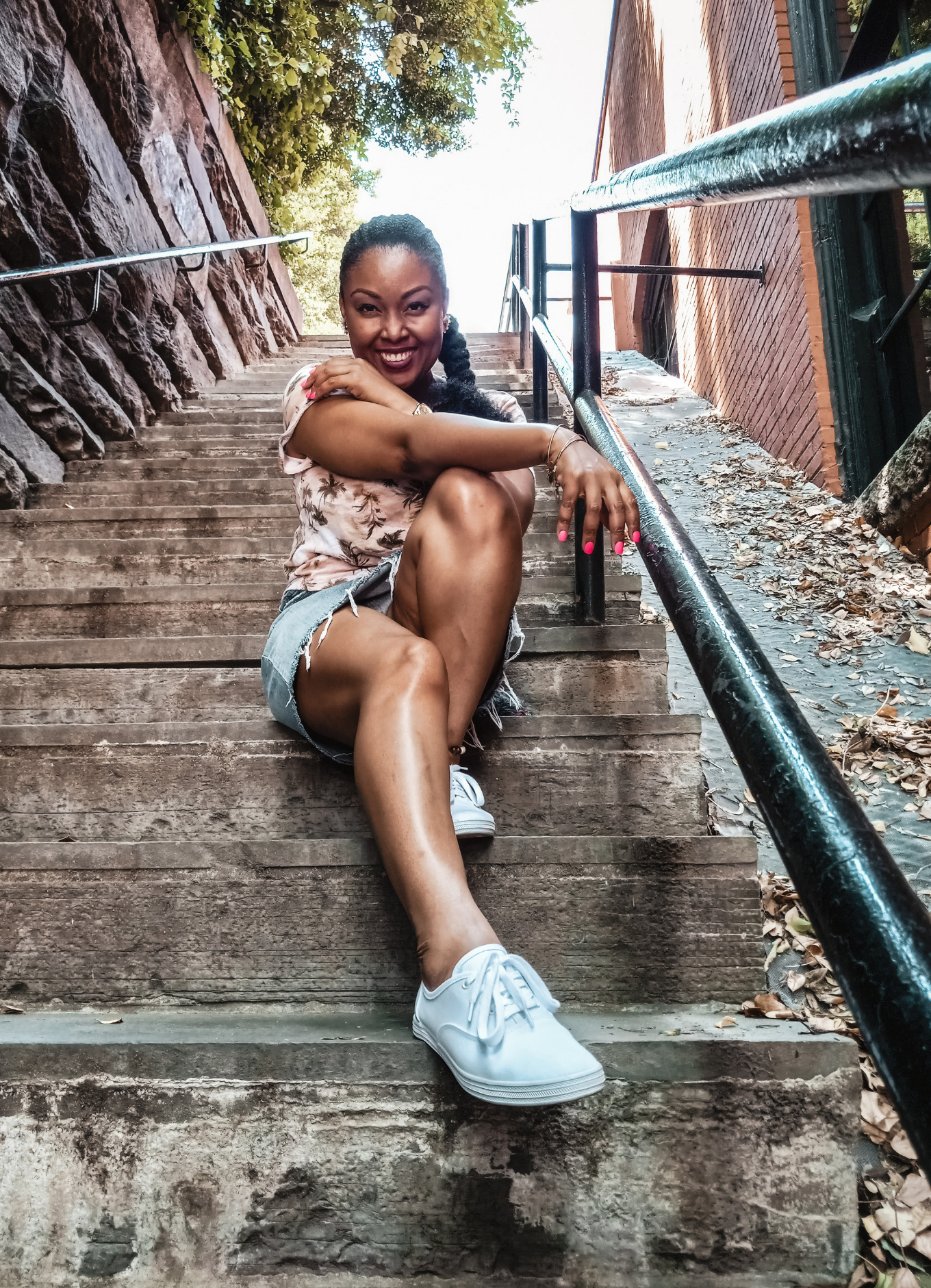 This Bahamian Gyal blogger, Rogan Smith poses on the Exorcist Staircase in Georgetown DC
