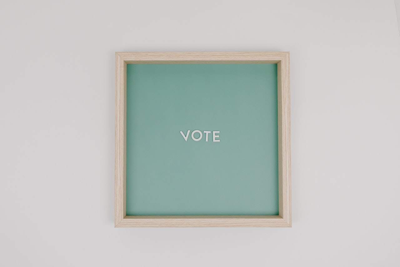 Image of the word VOTE on a sign Tara Winstead
