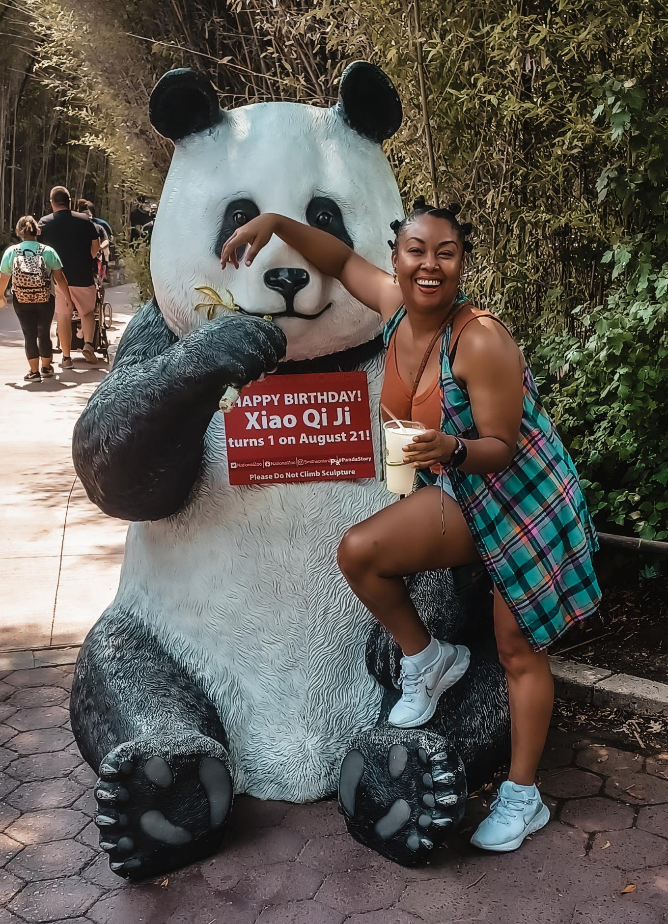 Photo of Giant Panda Xiao Qi Ji Washington DC National Zoo and This Bahamian Gyal blogger, Rogan Smith