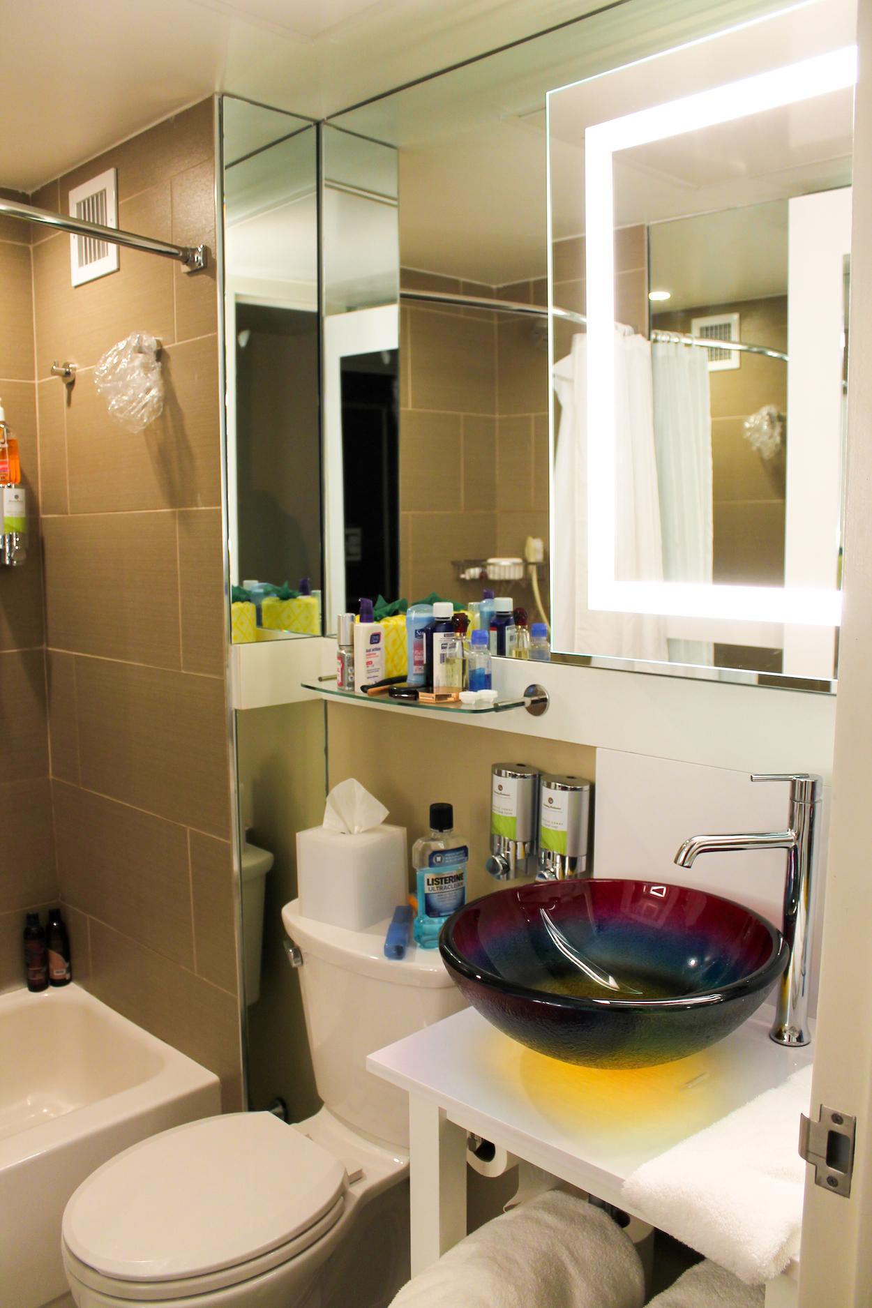 Inside the bathroom at StayPineapple Hotel New York