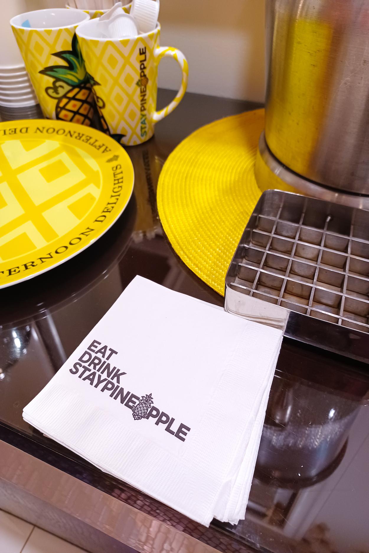 Napkin with StayPineapple branding