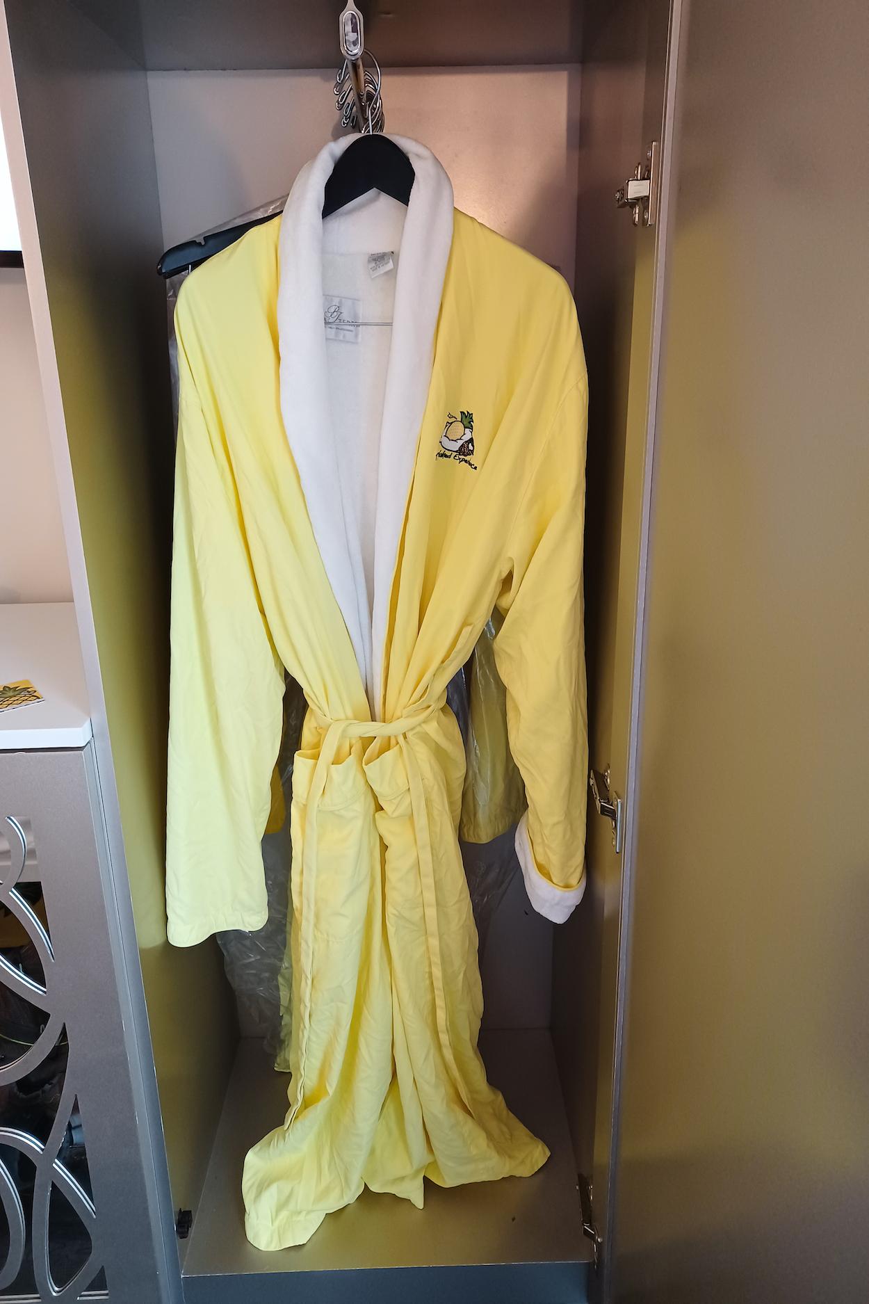 Plush yellow robe at StayPineapple Hotel New York City