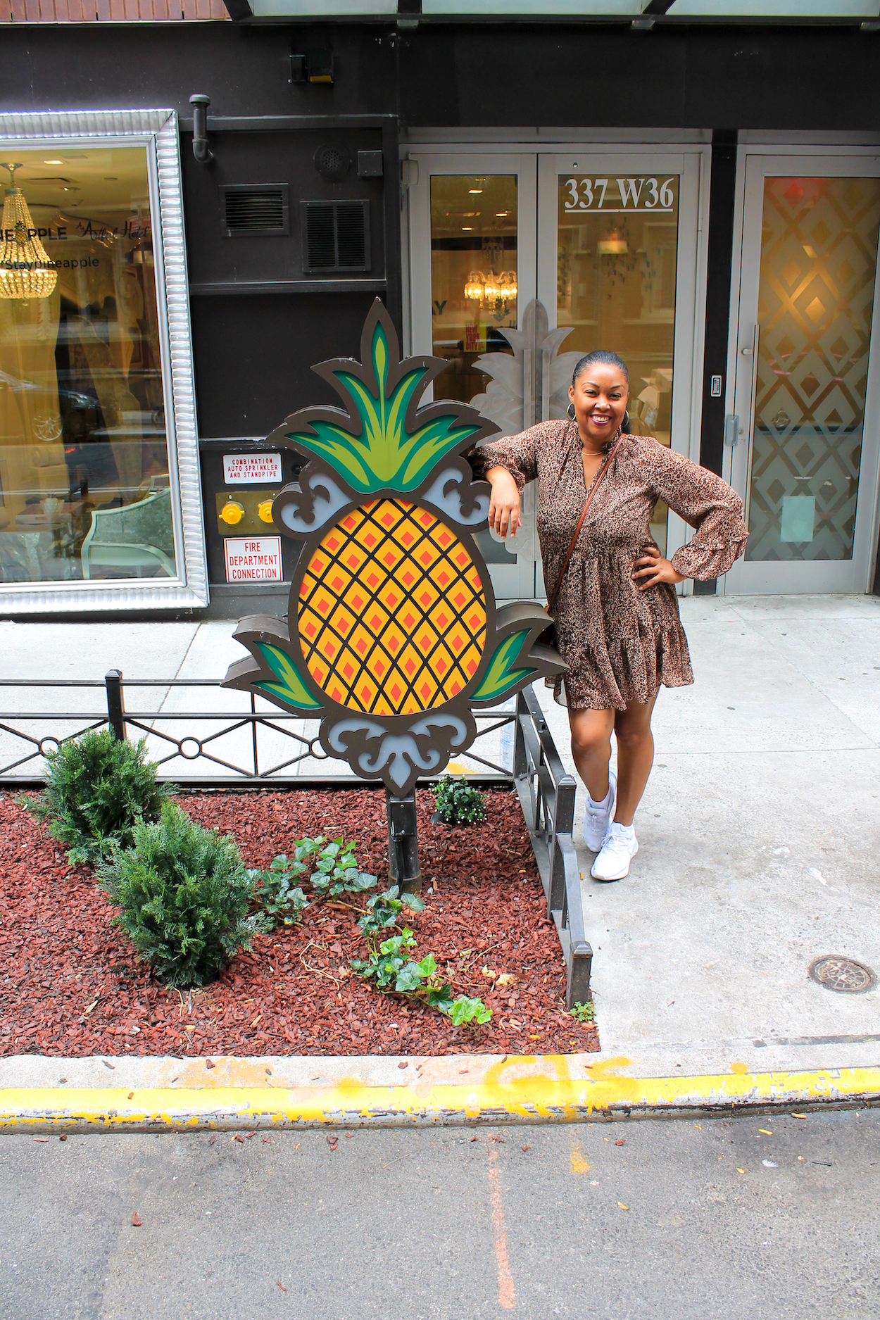 This Bahamian Gyal blogger Rogan Smith poses in front of the StayPineapple Hotel in New York City
