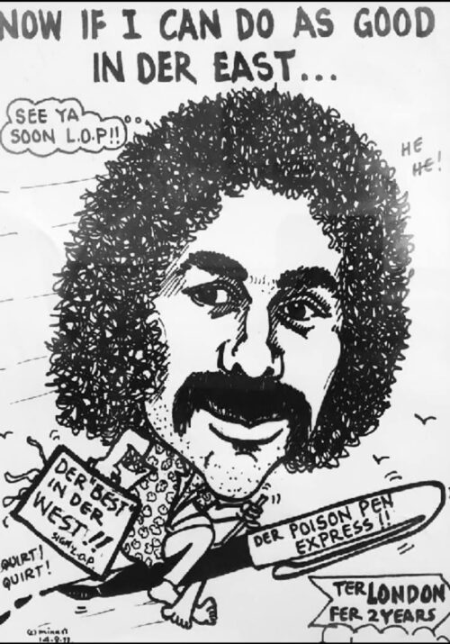 Black and white Sideburns cartoon of The Punch founder, Ivan Johnson of The Bahamas