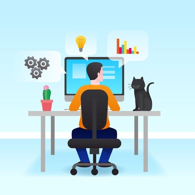 Man developing website
