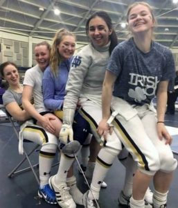 PDX Fencing athletes on the Notre Dame 2x Champions teams