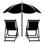 two beach chairs and umbrella for rent at Scallop Cove in Cape San Blas