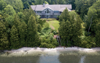 West Ridge is a three-bedroom, two-and-a-half-bath home with 200 feet of private shoreline