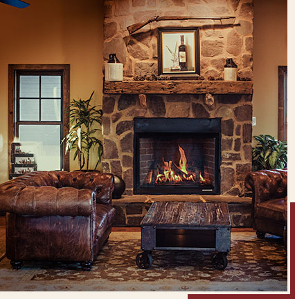 Main tasting room fireplace