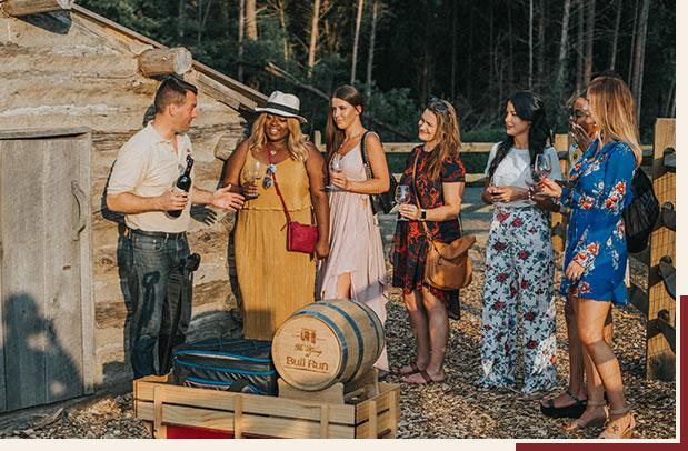 People visiting Bull Run winery