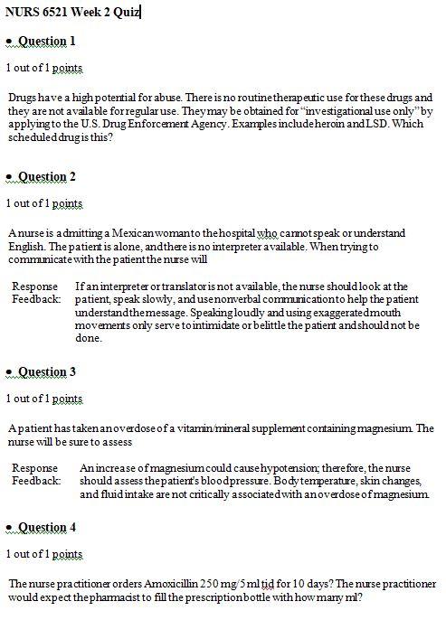 nurs 6521 week 2 quiz answers