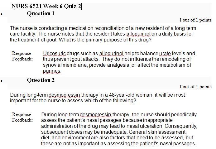 nurs 6521n week 6 quiz