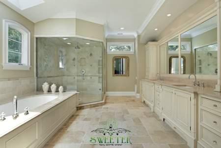 luxury bathroom in tan