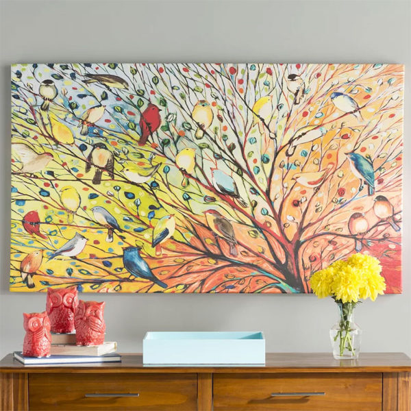 '27 Birds' Jennifer Lommers Painting Print on Wrapped Canvas