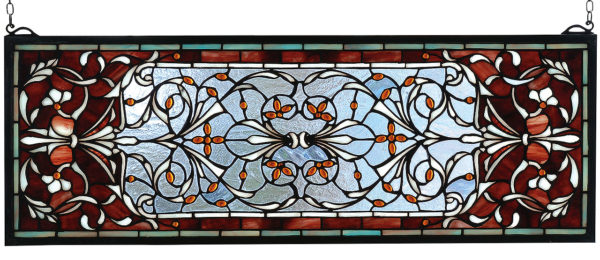 """Versaille Transom   Stained Glass Window   10"""" H X 28"""" W"""