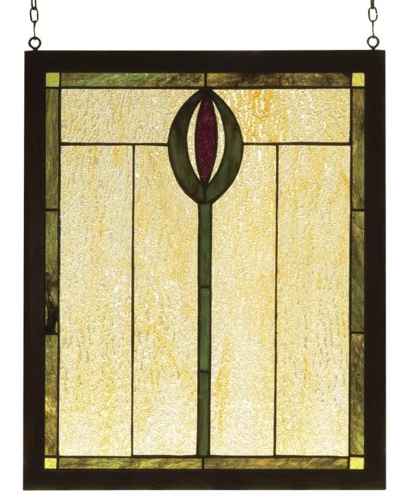 """Spear   Tiffany Stained Glass Panel   14"""" X 17"""""""