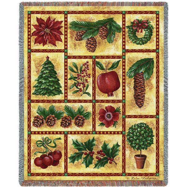 Images of Christmas Woven Throw Blanket