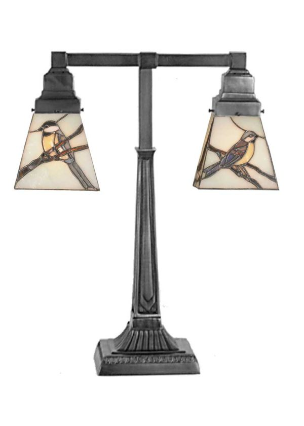 """Early Morning Visitors   2 Light Stained Glass Desk Lamp   19.5"""" H"""