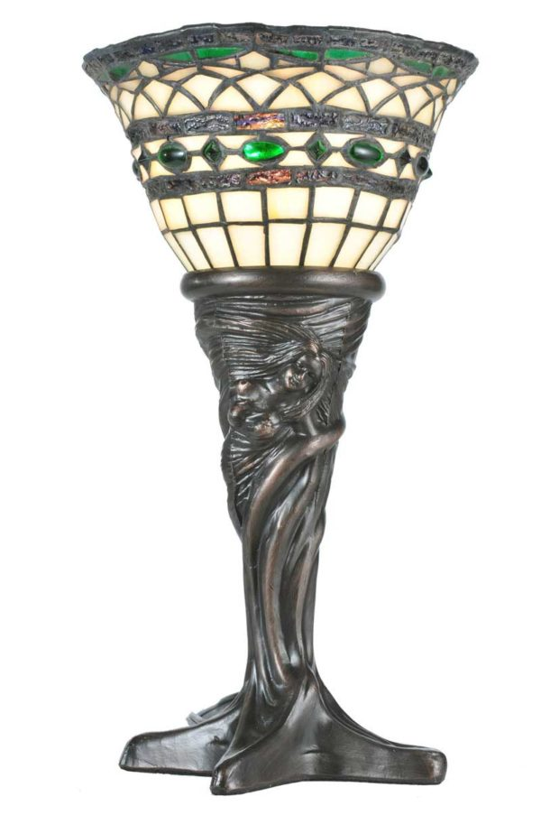 """Roman Tiffany   Small Stained Glass Lamp   14"""""""
