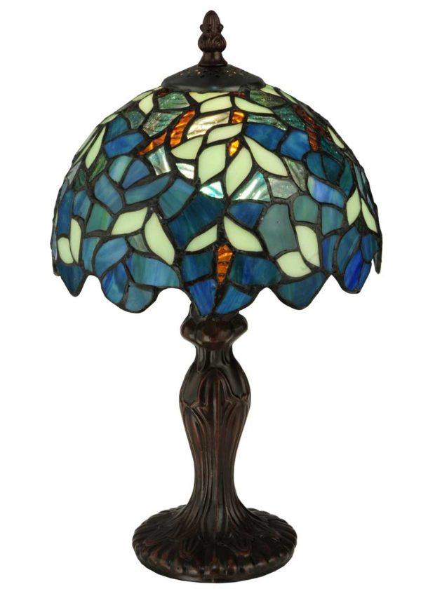 """Nightfall Wisteria   Small Tiffany Stained Glass Table Lamp   14"""" H"""