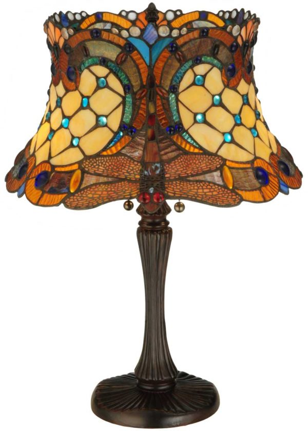 """22.5"""" H Tiffany Hanginghead Dragonfly Accent Lamp"""