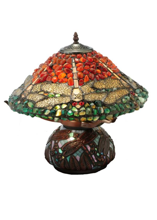 """16.5"""" H Dragonfly Polished Jasper Table Lamp"""