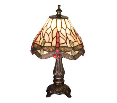 """Tiffany Stained Glass Scarlet Dragonfly Small Accent Lamp   11.5"""""""