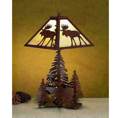 Moose And Pine Forest Rustic Lodge Table Lamp