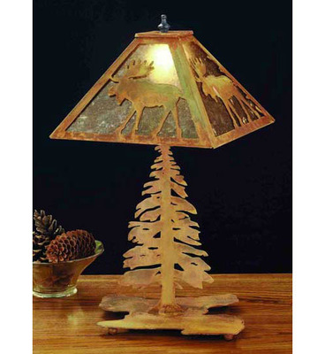 Moose With Pine Tree Rustic Lodge Table Lamp