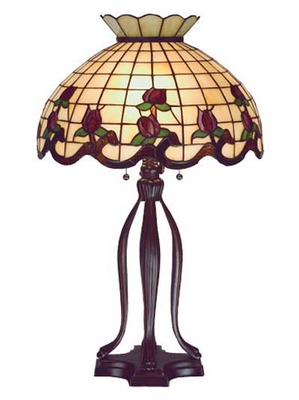 """31.5 H"""" Roseborder Tiffany Stained Glass Decorative Lamp"""