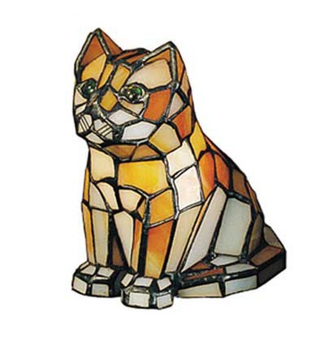 Cat Tiffany Stained Glass Accent Table Lamp 7504
