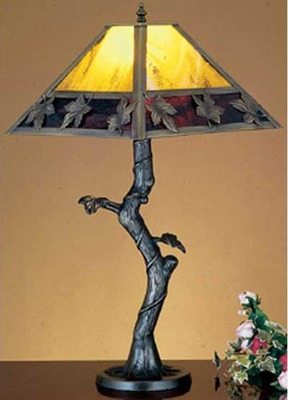 Mission With Maple Leaves Crooked Tree Accent Lamp