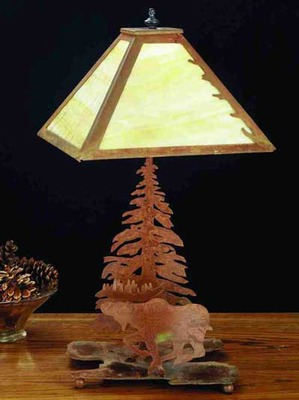 Moose, Pine And Leaf Edge Rustic Lodge Accent Lighting