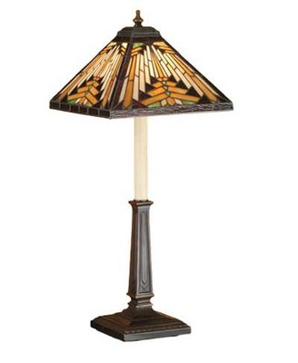 Navajo Mission Stained Glass Buffet Table Lamp