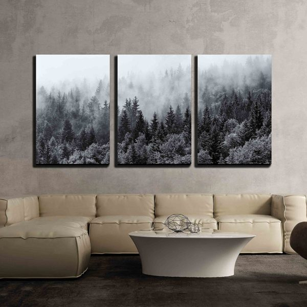 Misty Forests of Evergreen Trees   3 Piece Canvas Wall Art Set