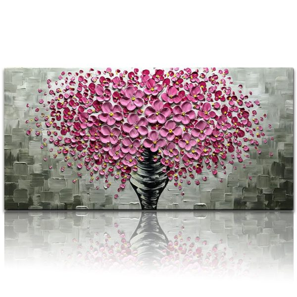 Pink Flowers Textured Contemporary Oil on Canvas Palette Knife Painting