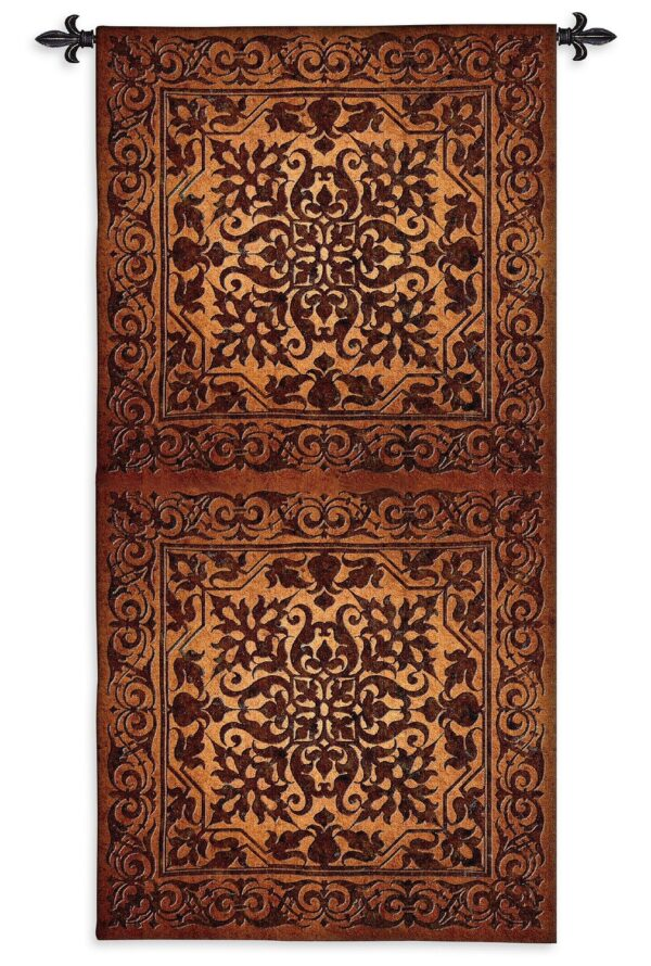 Double Iron Work Vertical   Tall Woven Tapestry   105 x 53