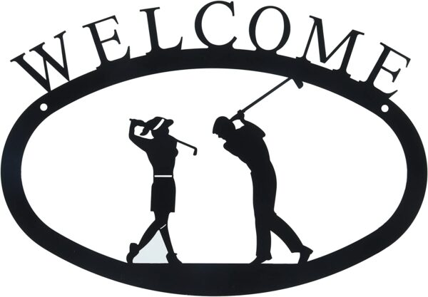 Golf Couple Large Wrought Iron Welcome Sign