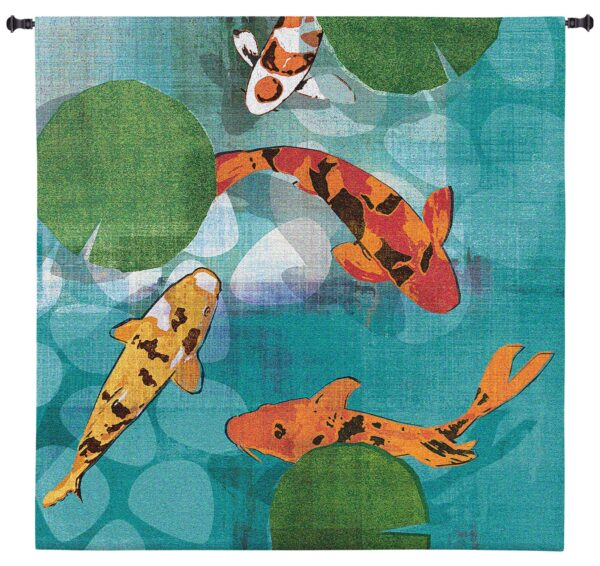 Lucky Koi   Large Woven Tapestry   60 x 60