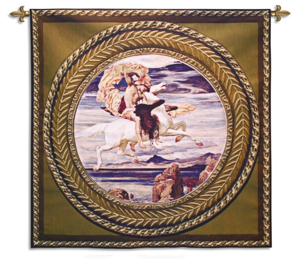 Perseus On Pegasus Hastening To the Rescue of Andromeda | Traditional Art Tapestry | 53 x 53