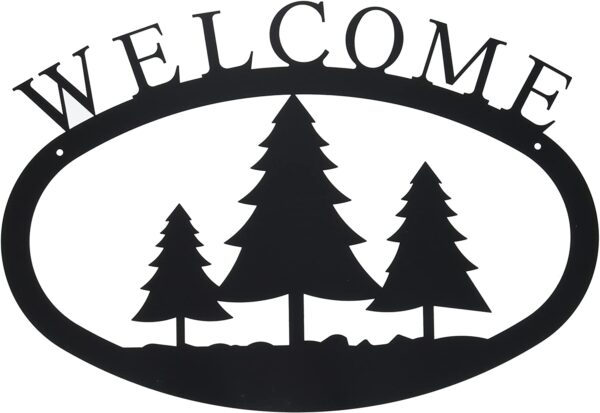 Pine Trees Large Wrought Iron Welcome Sign