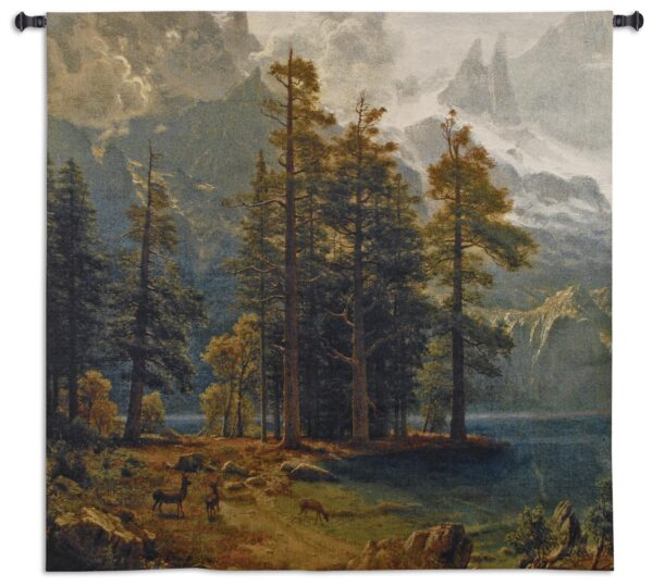 Sierra Nevada   Woven Landscape with Deer Tapestry Wall Hanging   53 x 53
