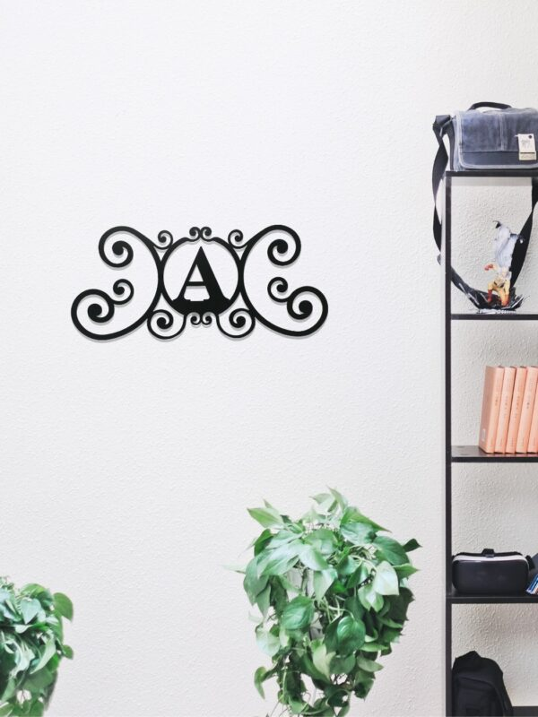 Wrought Iron Monogram Wall Plaque Letter