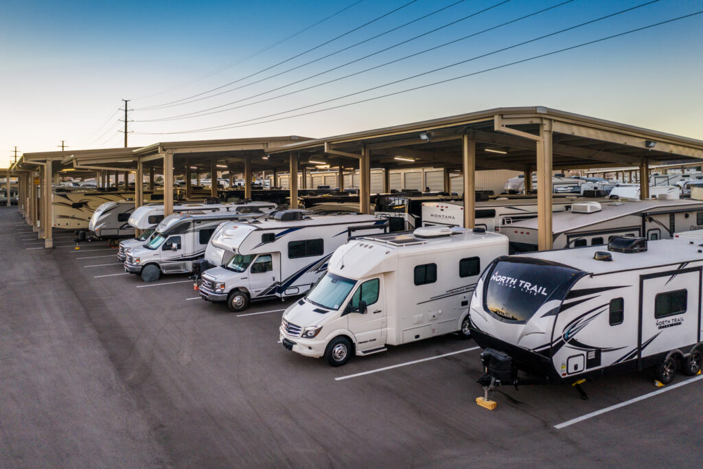 open and covered RV parking