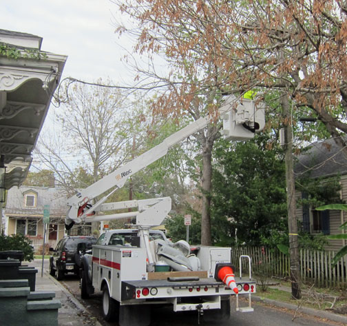 The streetlight in front of 1313 Vignaud was repaired December 15, 2012.   The whole head of the streetlight blew off August 29, 2012.