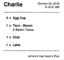 Receipts at Pagoda are printed from an iPad used to enter your order.